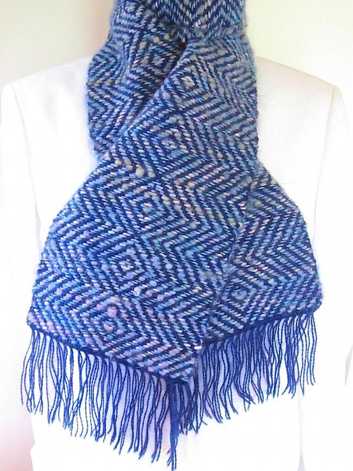 Handwoven Diamond Twill Blue Mohair Blend Scarf with fringe
