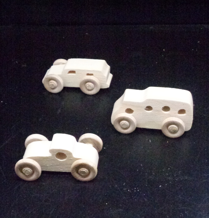 Pkg of  3 Handcrafted Wood Toy Cars and Bus   OT-96 -3-AAH-U    unfinished or