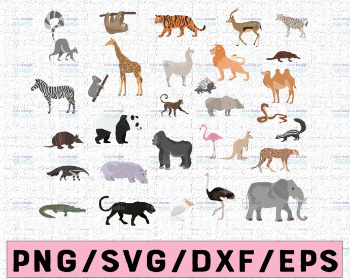 30 African Animal SVG - African Animal Silhouette - Animal Bundle SVG - African