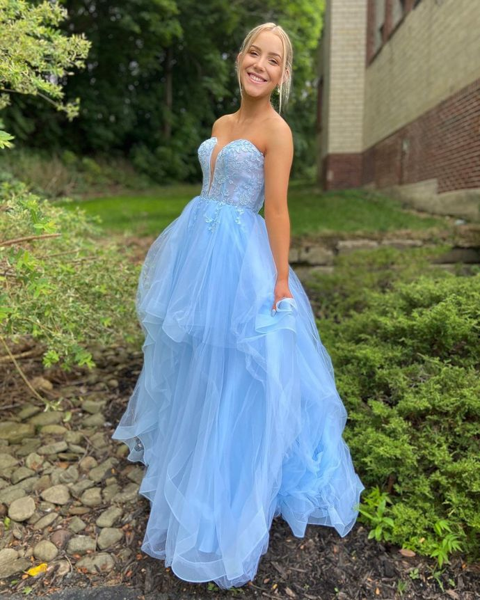 Blue Prom Dress,Tulle Prom Gown,Sweetheart Evening Dress,A-Line Prom Gown 064