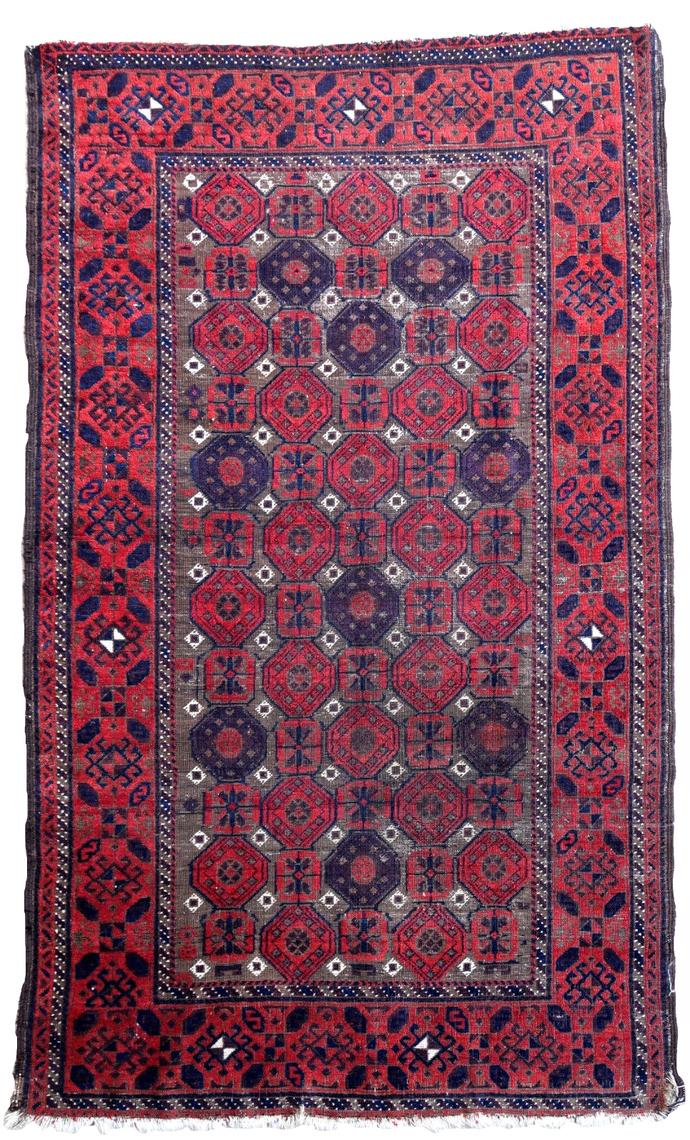 Handmade antique Afghan Baluch rug 3.3' x 5.6' (100cm x 170cm) 1900s - 1P77