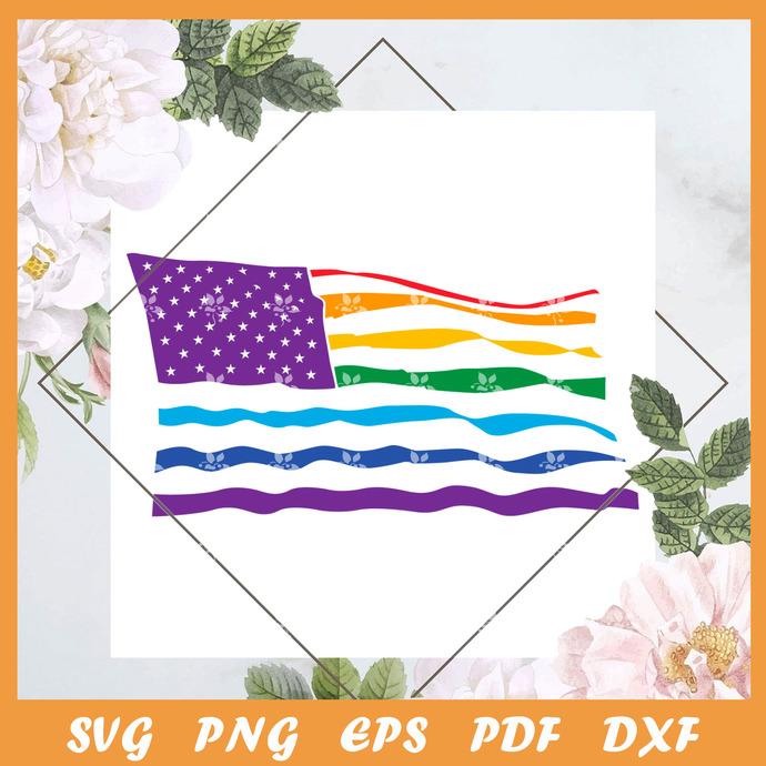 American Pride Fly Flag Svg, Trending Svg, LGBT Svg, LGBTQ Svg, Pride Svg, Pride