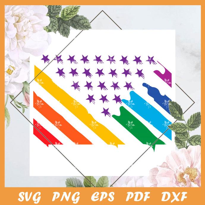 American Pride Painting Flag Svg, Trending Svg, LGBT Svg, LGBTQ Svg, Pride Svg,