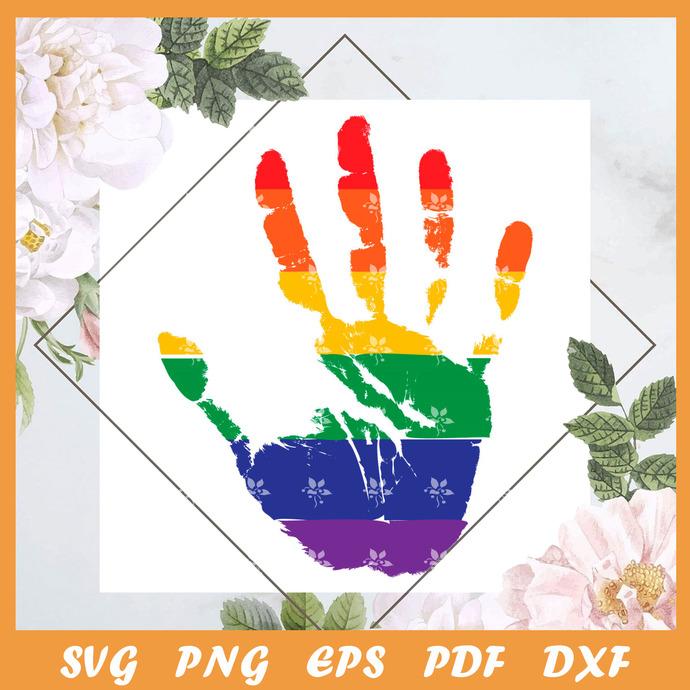 Pride Handprint Svg, Trending Svg, LGBT Svg, LGBTQ Svg, LGBT Gift Svg, Pride