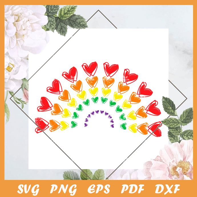 Pride Heart Rainbow Svg, Trending Svg, LGBT SVG, LGBTQ Svg, LGBT Gift Svg, Pride