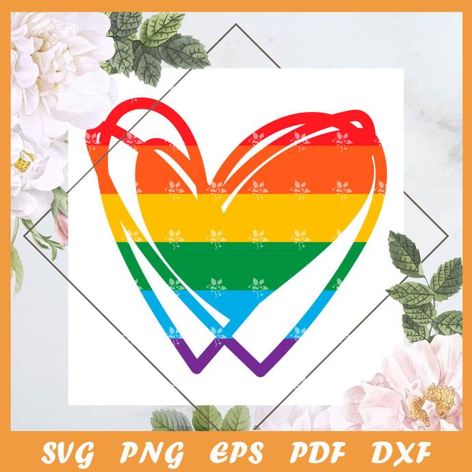 Pride Heart Svg, Trending Svg, LGBT SVG, LGBTQ Svg, LGBT Gift Svg, Pride Svg,