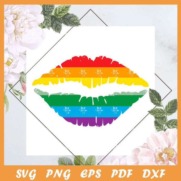 Pride Flag Lips Svg, Trending Svg, Trending Svg, LGBT SVG, LGBTQ Svg, LGBT Gift