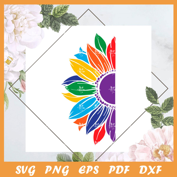 LGBT Flower Svg, Trending Svg, LGBT Svg, LGBT Flower Svg, Rainbow Svg, Rainbow