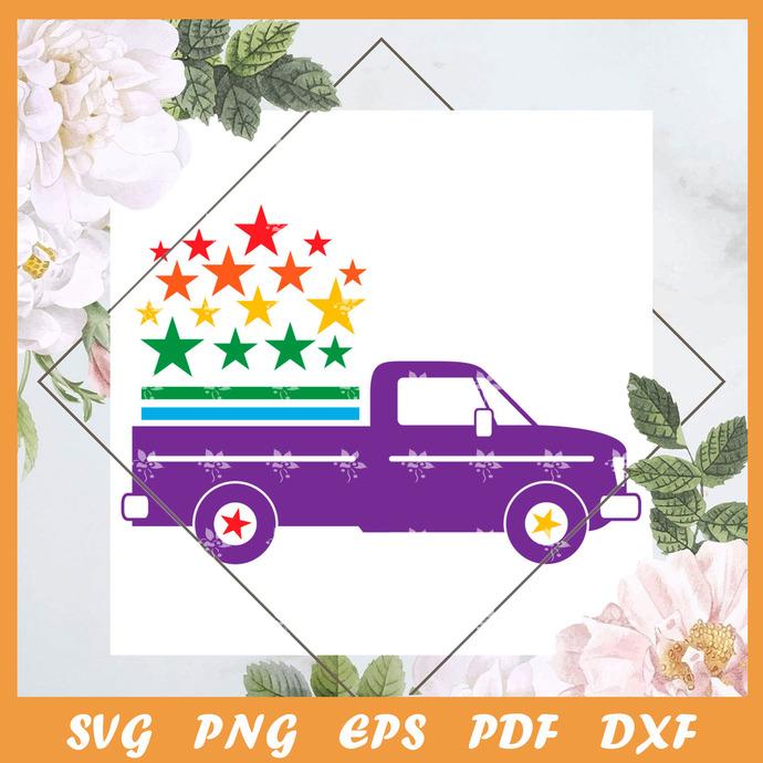 Pride Truck Star Svg, Trending Svg, LGBT Svg, LGBTQ Svg, Pride Svg, Pride Gift