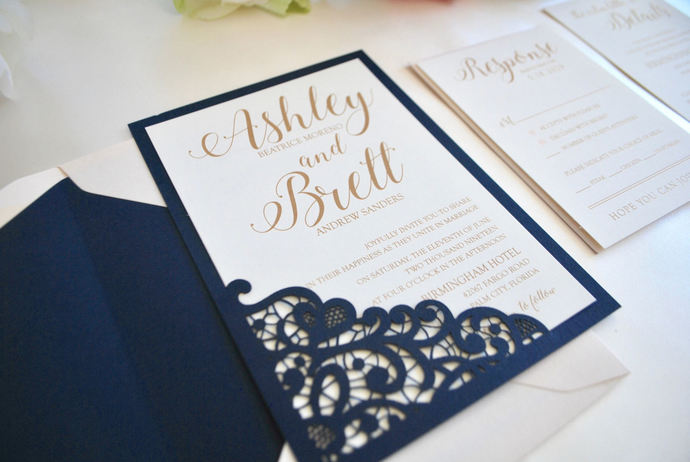 Reserved listing for Kelly- Navy Blue, Blush, Gold Wedding Invitation- Lace