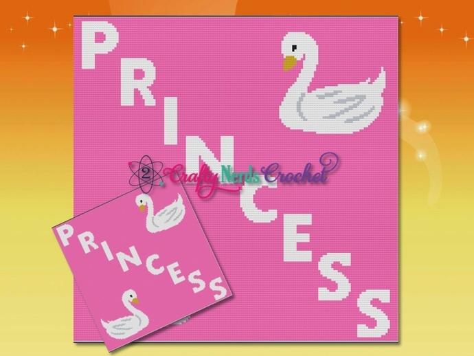 Princess Swan Pattern Graph With Single Crochet Written