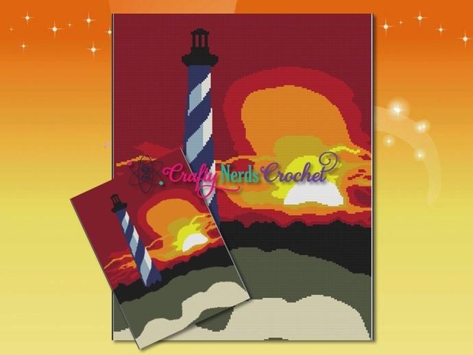 Sunset Lighthouse Pattern Graph With Single Crochet Written