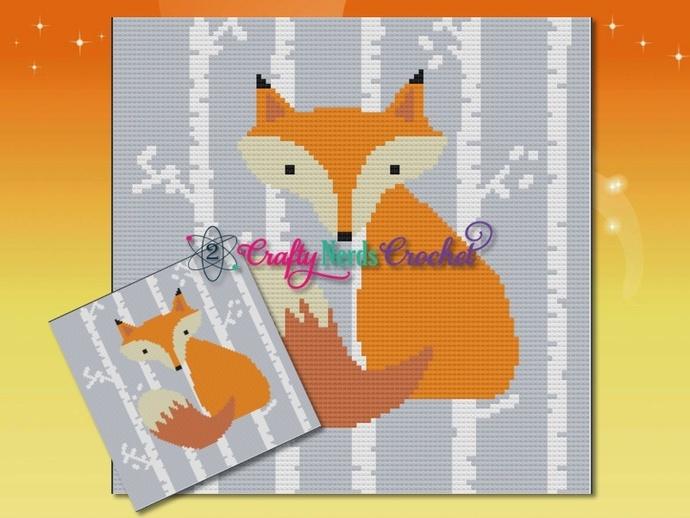 Fox In The Woods 3 Pattern Graph With Single Crochet Written
