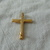 vintage rainbow colored Swarovski crystals gold cross pin mint
