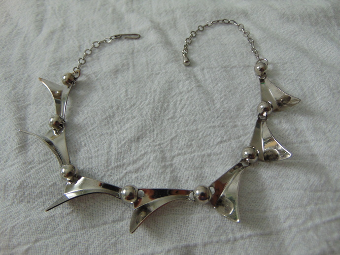 vintage silver modernistic ball joint segments necklace mint
