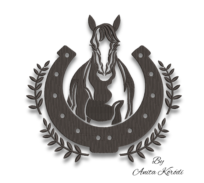 Horseshoe embroidery machine designs horse digital instant download pattern hoop