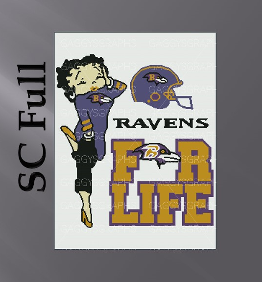 Betty Boop Ravens For Life SC Full, Graph, Written Instructions with color coded