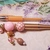Pink and gold hand beaded pen set