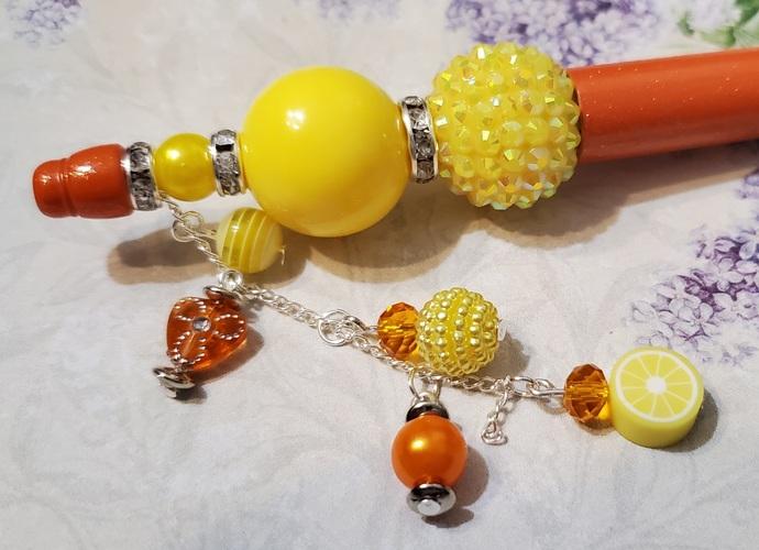 Orange and yellow hand beaded pen set