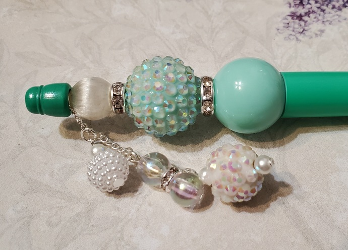 Mint and white hand beaded pen set