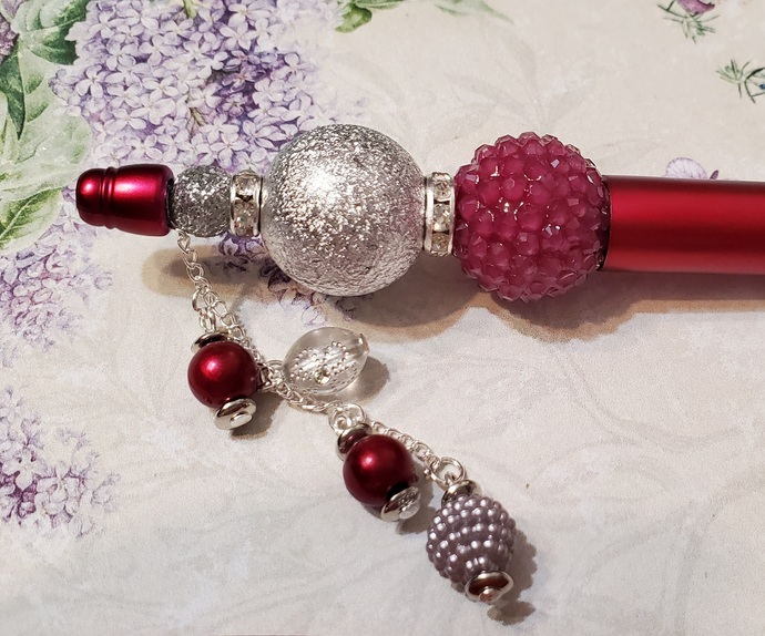 Maroon and silver hand beaded pen set