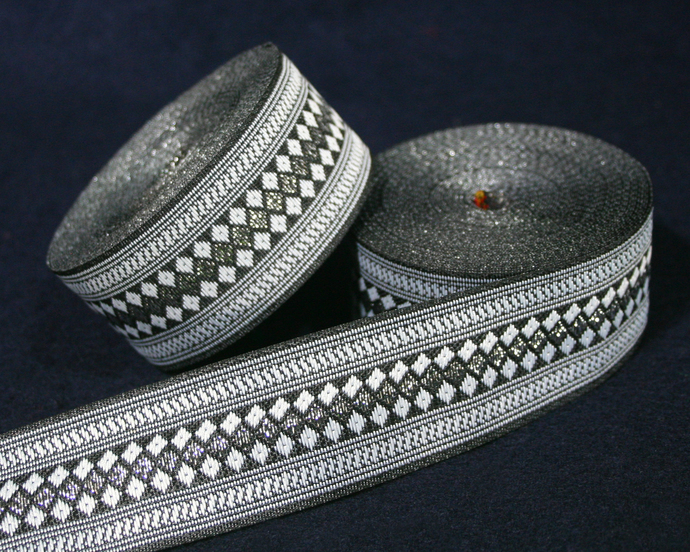 3cm Hmong Ribbon • Full Roll is AVAILABLE • Silver/Black&White Traditional Hmong