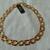 vintage Monet signed gold red enamel square links necklace mint nos