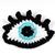 Crochet eye brooch with Swarovski crystals - Light blue
