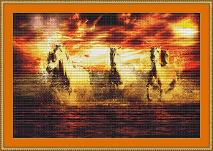 Galloping In The Sea Cross Stitch Pattern