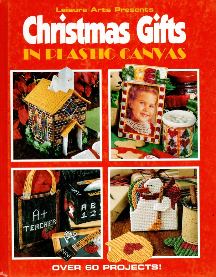 Christmas Gifts in Plastic Canvas Vintage 90s Leisure Arts HC Book Tissue cover,
