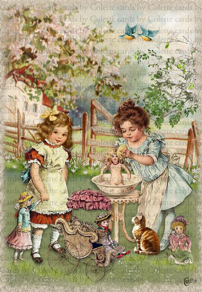 Dolly Wash Day Digital Collage Greeting Card3379