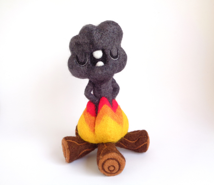Smoke Cloud, soft sculpture, Needle felted Toy Art, Handmade Art Toy, Fiber
