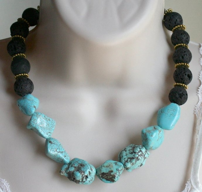 Turquoise Nugget Black Lava Stone Statement Necklace, Chunky Turquoise Beads