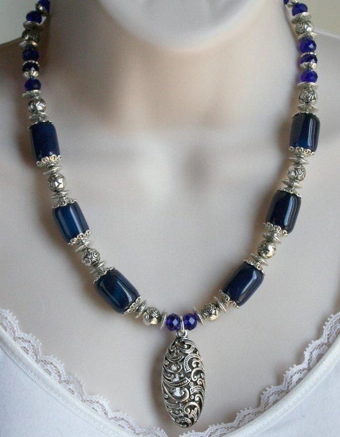 Dark Blue Sardonix Agate Statement Necklace, Tibetan Silver Tribal Style Pendant