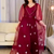 embroidery prom dresses 2021 v neck long sleeve a line long burgundy evening
