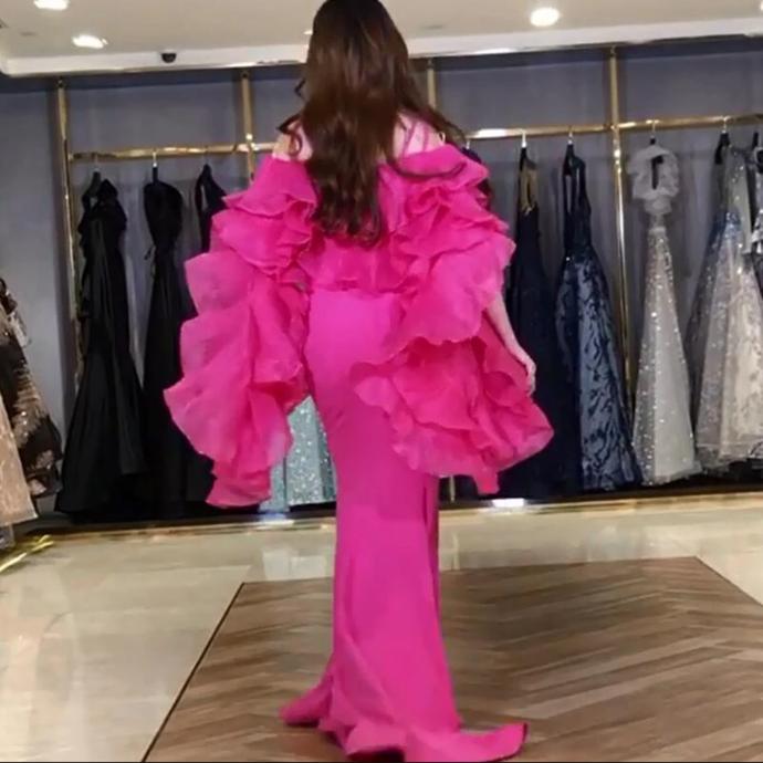 evening dresses ruffle long sleeve mermaid  prom dresses long formal dress