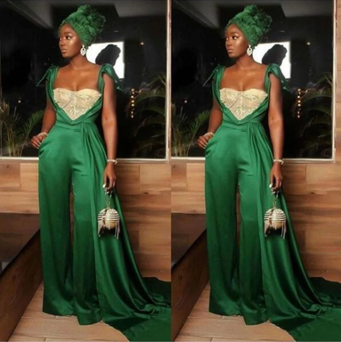 African 2021 Jumpsuits Prom Dresses Sweetheart Beads Crystal Evening Dress Plus