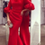 Cheap Elegant Red Mermaid Prom Dresses Jewel 3/4 Sleeves Satin Evening Gowns