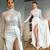 A-line Evening Dresses High Neck Long Sleeve Sequins Prom Dress Sexy High-split