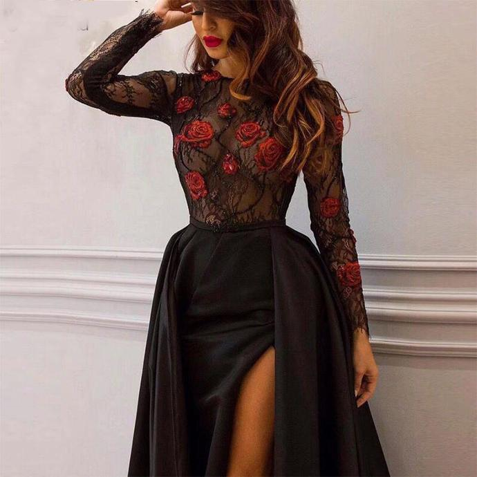 Sexy Black Long Sleeves Prom Dresses 2021 Illusion Lace Flowers A-Line Formal