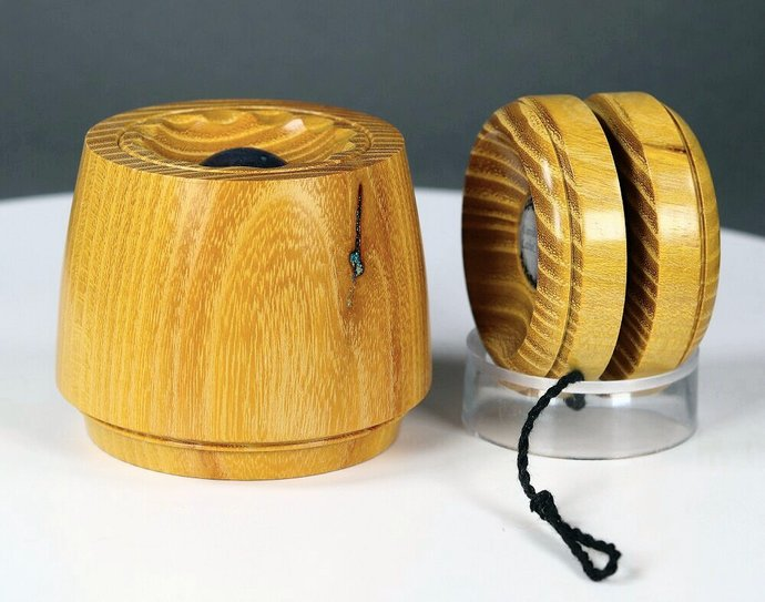 "Handmade Box with Yo-Yo ""Lid"" ... Texas Osage Orange Wood"