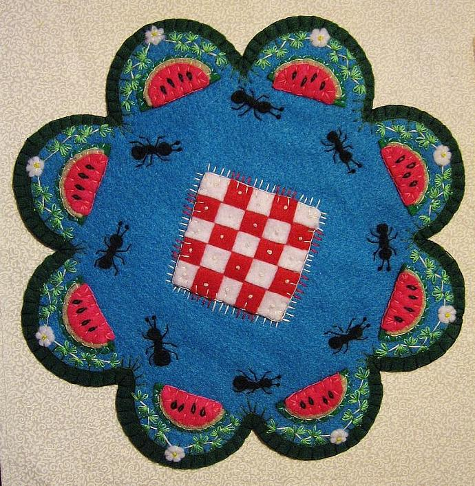 """Picnic"" Watermelon Candle Mat Penny Rug With Ants Flowers And Blanket PATTERN"