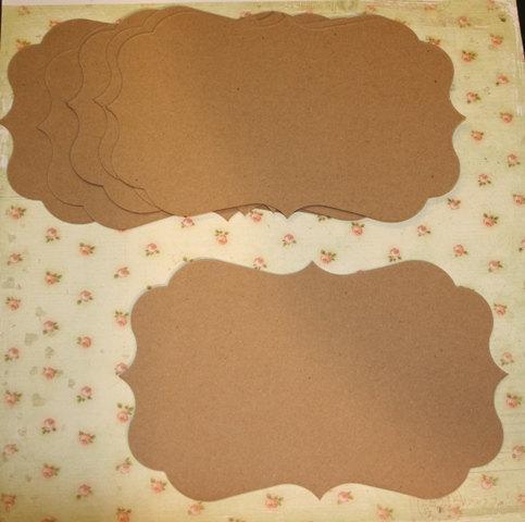 6 Large Fancy Bracket chipboard shapes for mini scrapbook albums mini smash
