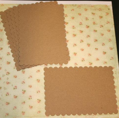 6 Scalloped Rectangle chipboard shapes for mini scrapbook albums mini smash