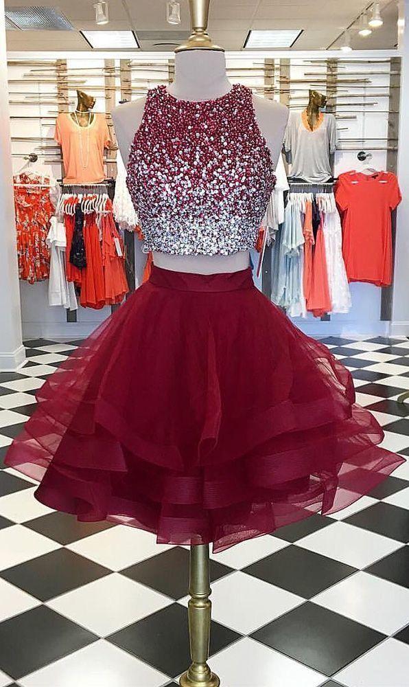 2 piece prom dresses short burgundy beaded tiered cheap graduation dresses 2022