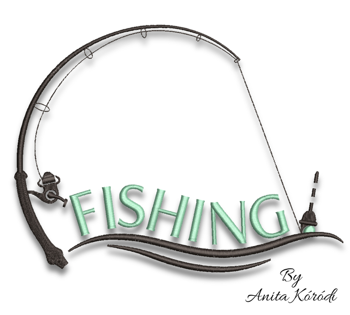 Fishing embroidery machine designs pes instant digital download