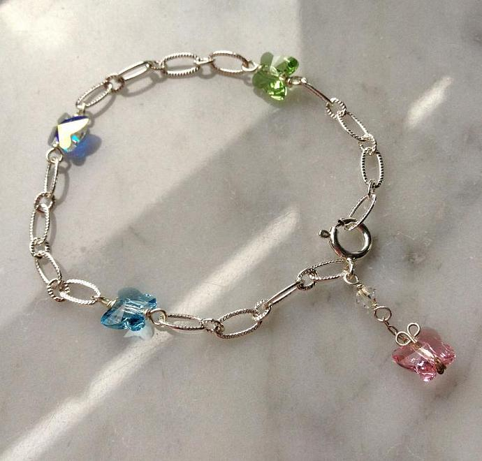 Crystal Butterfly Baby Bracelet, pink, blue, green, white AB Swarovski charms