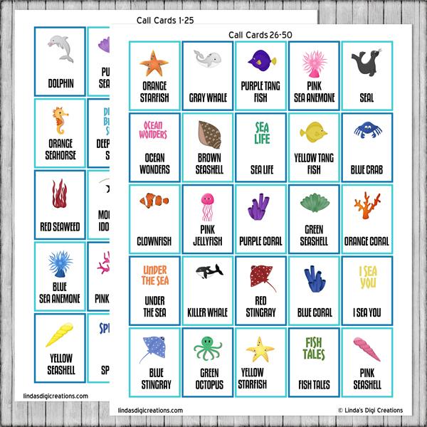 Printable Under The Sea Bingo Game