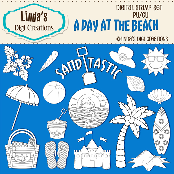 A Day At The Beach _ Digital Stamp Set