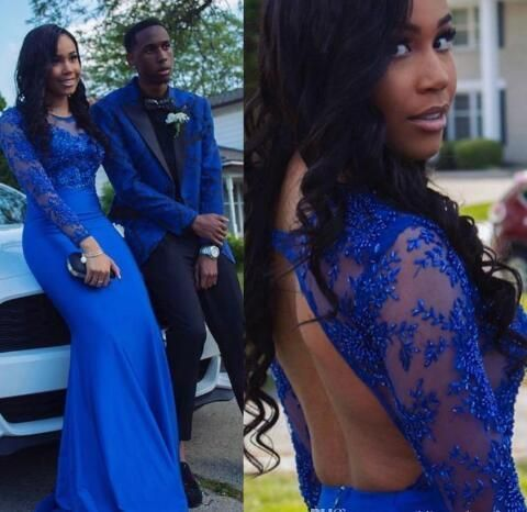 royal blue african evening dresses long sleeve lace applique mermaid beaded
